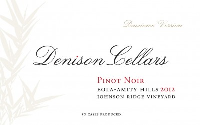 2012 Denison Cellars Johnson Ridge Vineyard Pinot Noir [label]