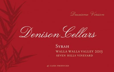 2013 Denison Cellars Seven Hills Syrah [label]